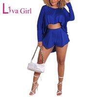 Kadın Şort Liva Kız Rahat Artı Boyutu Gevşek Kadın Yarasa Tops Katı Takım Elbise 2021 Kadın İlk / Yaz Uzun Kollu O-Boyun Kısa Pantolon Set
