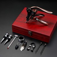 Wine Opener Rabbit Shaped Wine Corkscrew Set Bottle Opener Set With Wooden / Leather Box (Without Thermometer) X0803