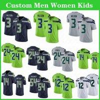 3 Russell Wilson Custom Hombres Mujeres Mujeres Niños Jerseys 14 DK Metcalf 24 Marshawn Lynch 16 Tyler Lockett 33 Jamal Adams Fan Bobby Wagner