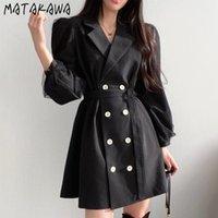 Costumes Femmes Blazers Matakawa Chic Retro Notched Coats à double boutonnage Veste de lacets à lacets de maille Mesh Couture Design Blazer à manches longues KOR