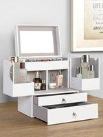 Boîtes de rangement Bacs Grand maquillage Organisateur Bureau de bureau bijoux Chambres à coucher Blanc House Hogar Organizer Vanity 50Hz