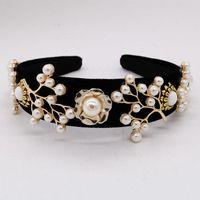 Hair Clips & Barrettes Vintage Baroque Crown Tiara Pearl Metal Branches Flower Velvet Headband Bridal Accessories Jewelry Wedding Hairwear