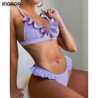 Swimwears Ingaga Push Up Bikinis Women's Swimsuits Sexy Ruffle Swimwear Ribbed Bathing Suits Thong High Cut Beachwear 2021 Bikini Set