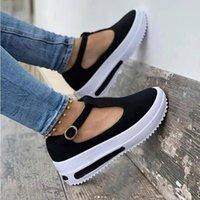 Sandals Summer Women's Vintage Wedge Shoes Woman Buckle Strap Straw Thick Bottom Flats Platform Flock Sandalias Mujer
