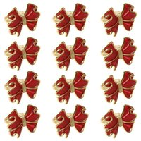 Napkin Rings 12pcs Gold Red Bow For Valentine's Day Easter Wedding Xmas Decor 68UE