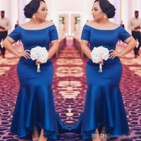 Royal Blue Plus Size Bridesmaid Dresses Mermaid Short Sleeves Satin Sweep Train High Low Custom Made Country Wedding Party Wear Maid of Honor Gown Vestidos