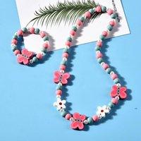 Favor de fiesta 8 Estilos Collar de niños Conjuntos Accesorio Colorido Fox Rabbit Unicornio Charm Beads and Pulset Girl Jewelry FWB9244