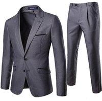 Men's Suit 2 Piece Set Professional Business Dress Suit Designer Gray Houndstooth Groomsman Groom Wedding Dress