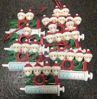 Auf Lager 2021 Neue Harz Weihnachten Quarantäne Ornamente Maßgeschneiderte DIY Familie von 1-9 Köpfen Hängen Dekoration Schneemann Anhänger mit Seilen
