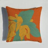 Yeni 45 * 45 cm Turuncu Serisi Yastık Atlar Çiçekler Baskı Yastık Kılıfı Kapak Ev Sandalye Kanepe Dekorasyon Yastık Kılıfı ZZE5184