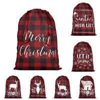 선물 랩 빨간색과 검은 색 격자 무늬 현재 가방 Drawstring 크리스마스 산타 자루 크리스마스 면화 가방 파티 BWB10745