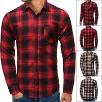Mens Primavera Autum xadrez Camisa de manga comprida camisas de algodão camisas masculinas de alta qualidade botão checkered tops chemise homme1