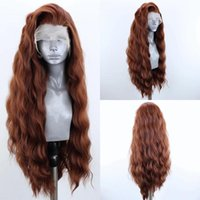 Synthetic Wigs Long Wavy Lace Front Wig Brown Hair For Women Heat Resistant Fiber Natural Hairline Cosplay