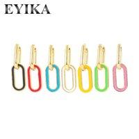 Hoop Huggie Eyika 1 pezzo Multicolor smalto rettangolo rettangolo lucido orecchino fluorescente giallo geometria ovale cerchio cerchio dangler per le donne