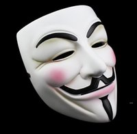 Bianco V Mask Masquerade Mask Eyeliner Halloween Full Face Masks Party Puntelli Vendetta Anonymous Movie Guy all'ingrosso Spedizione gratuita EWC6218