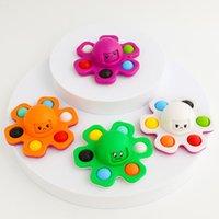 Flip Face Octopus Fidget Sensory Bubble Spinner Gyro Teléfono celular Correas Finger Popping Toys Simple Dimple Push Spinning Top Gyroscopio Descompresión Estrés Alivio