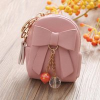 Coin Purses 350pcs/lot Purse Woman Zipper Fashion Solid Color Women Schoolbag Shape Bow Key Bag Short Wallet Crystal Pendant