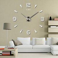 Wall Clocks Large Block Quartz 3D Diy Decorative Kitchen Acryl Mirror Stickers Oversize House Brief Home Decor