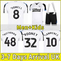 2021 2022 Derby County Soccer Trackss Home All Youny CamiSetas de Fútbol Marriott Lawrence Vaghorn Man + Kids Kit Set Футбольные рубашки Полные носки
