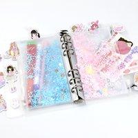 A5 A6 Poche de cahier PVC avec 6 trous Poches de liant en plastique Glitter 6 Bague Sac à feuilles en vrac Filofax Zipper Enveloppes Bult-in Flocakes 140 v2
