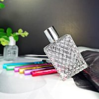 100ml Square Grids Carved Perfume Bottles Clear Glass Empty Refillable fine mist Atomizer Portable Atomizers Fragrance 899 B3