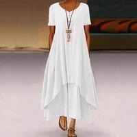 Casual Dresses Summer Women Long Dress Plus Size Short Sleeve O Neck Elegant For Clothing Vestidos Mujer Verano 2021