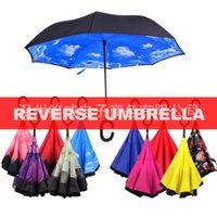 Son Yüksek Kalite ve Düşük Fiyat Rüzgar Geçirmez Katlanır Çift Katmanlı Ters Anti-şemsiye Öz-Geri Yağmur Geçirmez C-Tipi Kanca El 287 R2