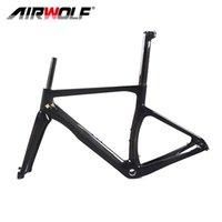 Airwolf Karbon Fiber Yol Bisikletleri Frameset Parça Yarış Bisiklet Çerçevesi Bisiklet Çerçeveleri XS / S / M / L / XL Boyutu 700 * 25C BSA Disk Fren Fit DI2 Mekanik Groupset