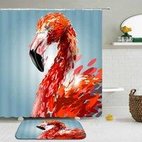 Shower Curtains 2Pcs Set Flamingo Bath Curtain Mat Set Bathroom Waterproof Cloth +Non-slip Rug Toilet Floor Decor