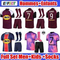 2020 2021 MBAPPE ICARDI قمصان كرة القدم 20 21 MAILLOTS DE FOOT Paris  Kids Kit SETS enfants Socks