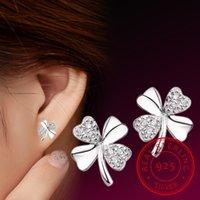 925 الفضة الاسترليني القلب brincos pendientes محظوظ البرسيم مربط القرط للنساء هدية Oorbellen S-E55
