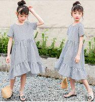 큰 여자 격자 무늬 드레스 여름 아이들 짧은 소매 팔발 드레스 아이 코튼 검은 흰색 드레스 작은 십대 소녀 드레스 A5865