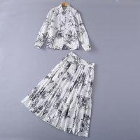210 2021 활주로 드레스 봄 여름 무료 Shippi 긴 소매 옷깃 넥 패션 여성 의류 여성의 두 조각 세트 드레스 Sh
