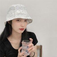 Stingy Brim Şapka Şapka Genç Kız Çiçek Nakış Beyaz Balıkçının Kadın İlkbahar / Yaz Güneşlik Seyahat