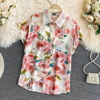 Women's Blouses & Shirts 2021 Summer Vintage Splash Ink Printing Short Sleeve Single-Breasted Floral Blouse Top Sunscreen Clothes 7 Colors