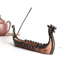 Queimadores de incenso retrô Lâmpadas de fragrância queimador titular tradicional design chinês resina barco dragão casa arte decoração fwe7588