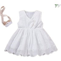 Summer Girls Dress 2021 NEW Hollow Embroidered Fying Sleeves...