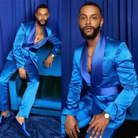 Two-Pieces Men Suits Silk Satin Wedding Tuxedos Summer Party Wear Fit Fashion Blue Business For Groomman Peaked Lapel Blazer Suit