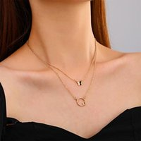 Pendant Necklaces Simple Double Butterfly Necklace Special Design Sweet Clavicle Chain Retro Stacked NecklaceQW18