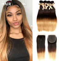 Ombre Human Hair Extensions 1B 4 27 Brazilian Silky Straight Weave 3 Bundles With Three Tone Blonde Lace Closure