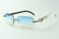 Direct sales micro-paved diamond sunglasses 3524024 with mixed buffalo horn temples designer glasses, size: 18-140 mm