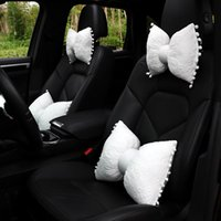 Seat Cushions Cute Lace Bowknot Car Neck Pillow Elastic Cotton Waist Rest Back Lumbar Cushion For Accessories