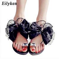 Eilyken Summer Bowtie Flower Flat Sandals Slippers Casual Fashion Female Beach Flip flops Women Mesh Grey Black Slippers 210310