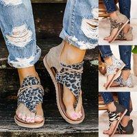 2020 Femmes Sandales Sandales Appartements Chaussures Femme Pu en cuir Zapatos de Mujer Casual Bohême Sandalias Sapato Feminino Leopard Snake B1vv #