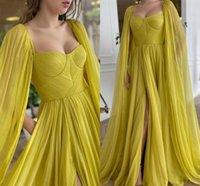 Charming Yellow Chiffon Pleats Prom Dresses With Wrap Cloak Arabic Aso Ebi Side Slit 2021 Fashion Formal Gowns A Line Sweep Train Women Party Evening Dress AL9300