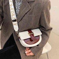 Design Patchwork Color Fashion Zadel Cups Ladies Pu Leather Crossbody Handbag with Letter Shoulder Belt
