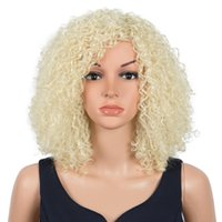 Synthetic Wigs Fashion Idol Afro Kinky Curly Hair 14 Inch Bob Wig Fake Ombre Blonde Water Wave Heat Resistant For Women