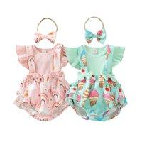 Newborn Clothing Sets Girls Outfits Baby Clothes Infant Wear Summer Rainbow Ice Cream Short Sleeve T-shirts Straps Shorts Bows Headbands 3Pcs B7076