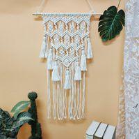 Woven Wall Hanging Tapestry Bohemian Novelty Handmade Chic Home Art Decor for Wedding Apartment Bedroom Living Room Tassel RRF11353