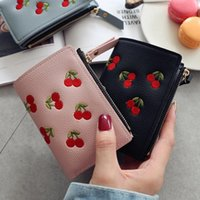 Wallets Simple Design Women's Wallet Soft PU Leather Cherry Embroidery Pattern Fashion Ladies Shopper Purse Casual Portable Female Bag
